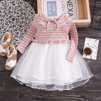 Adorable Striped Knitted Long Sleeves Tulle Dress