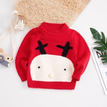 Stylish Soft Deer Print Long Sleeves Sweater