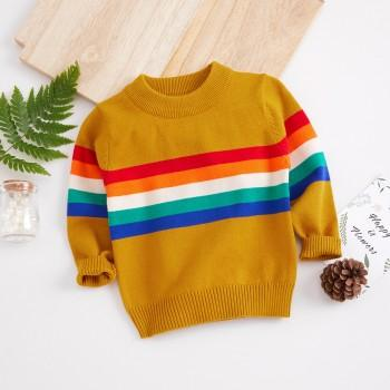 Fashionable Rainbow Striped Long Sleeves Sweater