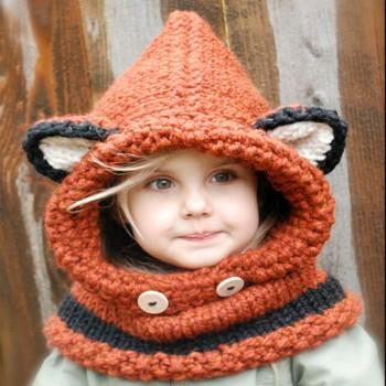 Adjustable Kids Autumn Warm Fox Hats Knitted Hood Scarf Beanies Suits Kids for 10Y and Over