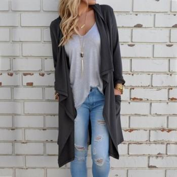 Classic Loose  Long Sleeve Outerwear For women