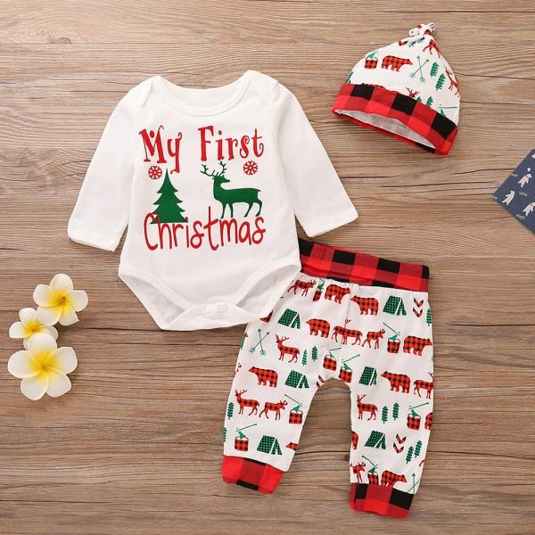 3 pcs my first christmas romper animal print pants and hat christmas outfit