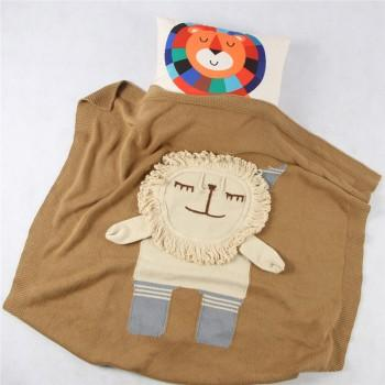 Knit Elephant Lion Blanket 82cm*92cm