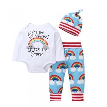 3-piece Colorful Rainbow Print Bodysuit Set with Adorable Hat