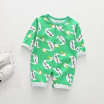 Green Allover Cute Duck Print Jumpsuit For Autumn