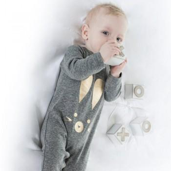Lovely rabbit Printed Long-sleeve Cotton Jumpsuit