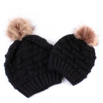 Mommy and Me Stylish Pom-pom Knit Hat