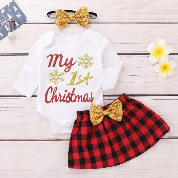 Sequins Bow and Glitter My 1st Christmas Outfit
