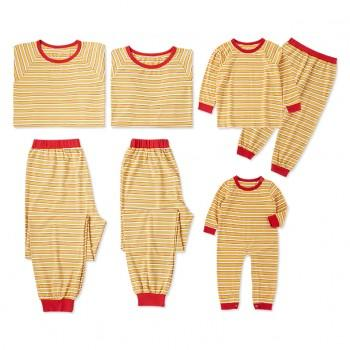 Yellow Stripped Family Matching Pajamas