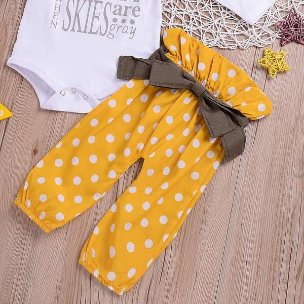 3 Pcs You're My Shunshine Polka Dots Outfit