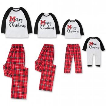 Stylish Plaid 'Merry Christmas' Long-sleeve Lounge Set and Jumpsuit for Family Matching