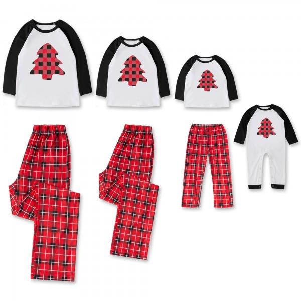 Tree Plaid Long Sleeves Lounge Set and Jumpsuit for Family Matching