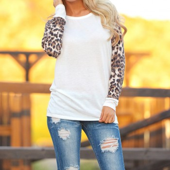 Cool Splice Leopard Sleeves White Casual Tee For women