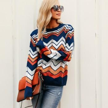 Colorful Striped Turtleneck Sweater