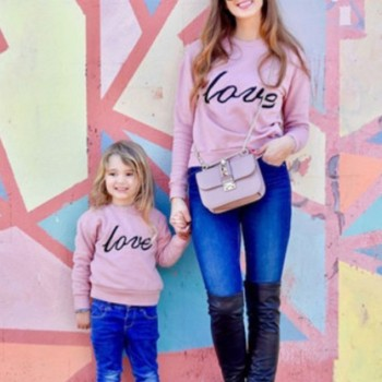 Love Letter Print Matching Sweatshirt In Pink