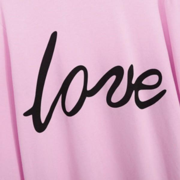 Love Letter Print Matching Sweatshirt in Pink
