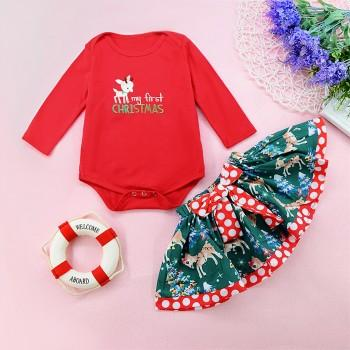 3 pcs embroidered my first christmas red romper polka dots deer print skirt christmas outfits