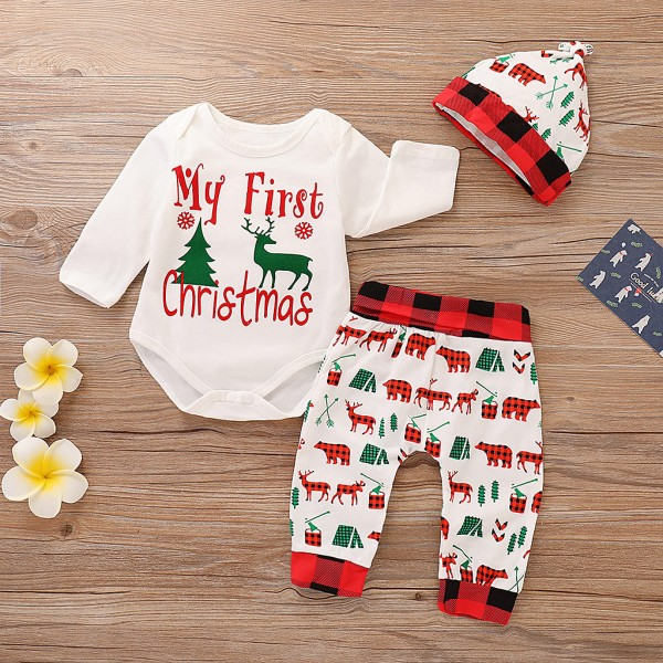 My First Christmas Forest Animal Print Christmas Outfit