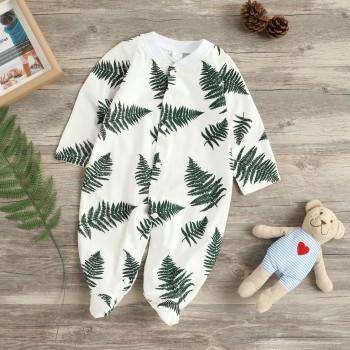 Leaf Print Footie Jumpsuit