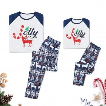 Adorable Jolly and Deer Print Christmas Matching Pajamas Set for Mom and Me