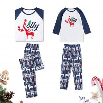 Christmas Theme Jolly Reindeer Snowflake Pattern Medium Long Top and Pants Set for Mom and Me