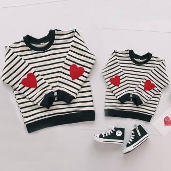 Heart Pattern Long sleeve Striped Matching Sweatershirt