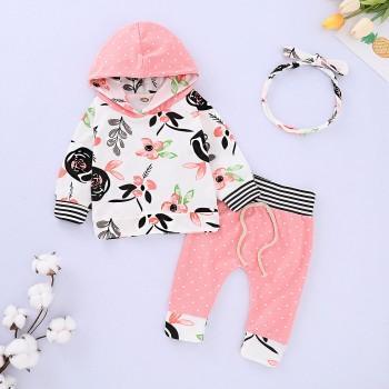3 Pcs Cute Floral Hooded Long Sleeve Top Polka Dots Pants and Headband Autumn Outfits