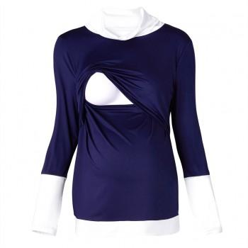 Colorblock Maternity Nursing Long Sleeve T-shirt