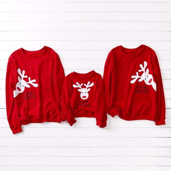 Curious Deer Pattern Family Christmas Sweatshirt