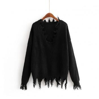 Pure Color Loose Tassel Sweater