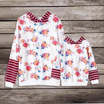 Floral Print Striped Matching Hoodie