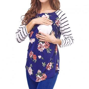 Stripe and Floral Print Maternity Nursing T-shirt