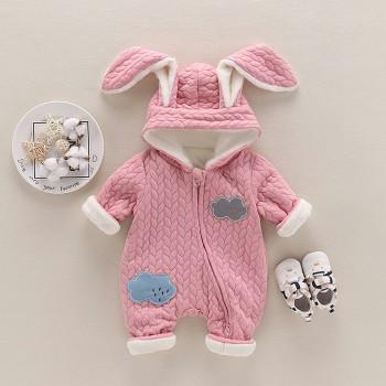 Warm Cloud Applique Rabbit Ears Hooded Footless Thick Winter Jumpsuit