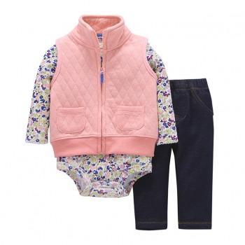 3 Piece Fleece Vest, Bodysuit and Pant Set