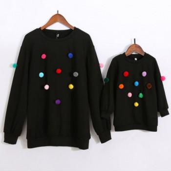 Color Ball Matching Sweater in Black