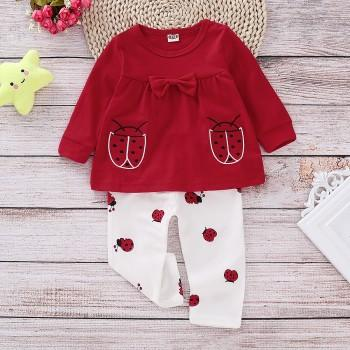 2 Pcs Cute Long Sleeve Red Ladybug Top and Pants Autumn Outfits
