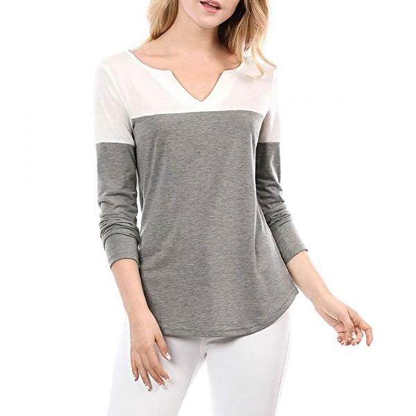 Stylish Two Color Block Long Sleeves Loose V-neck Tee