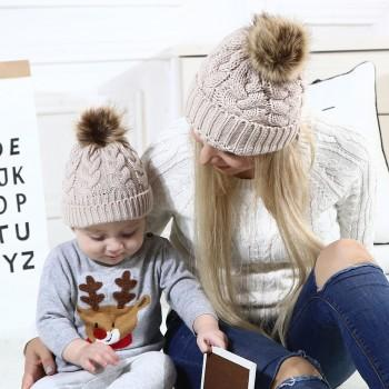 Mommy and Me Stylish Solid Knit Hats