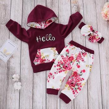 2 Pcs Autumn Hello Floral Hooded Top and Pants Set in Crimson