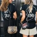 Stylish BE FRI ST END Pint Short Sleeve Tee for Womeen