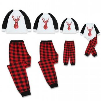 Reindeer Long-sleeve Top and Black Plaid Pants Lounge Set