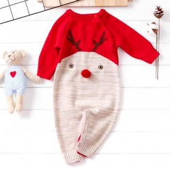 lovely christmas deer long sleeve jumpsuit for baby