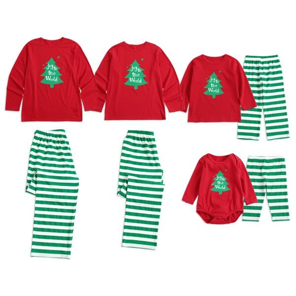 Christmas Family Matching Pajamas Christmas tree Print Top and Stripes Pants Set