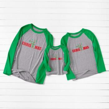 Christmas Print Green Sleeve Family Pajamas Tops