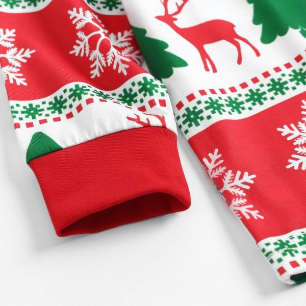 Cheerful Christmas  Deer Tree and Snow Print Matching Family Pajamas Set