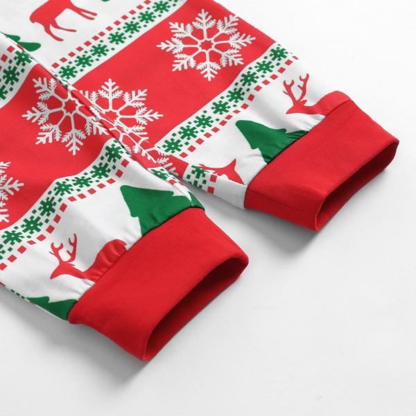 Cheerful Christmas  Deer Tree and Snow Print Matching Family Pajamas Set