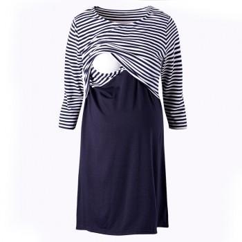 Classic Stripe Maternity Elbow Sleeve Nursing Dress