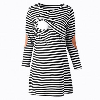 Classic Stripe Maternity Nursing Dress