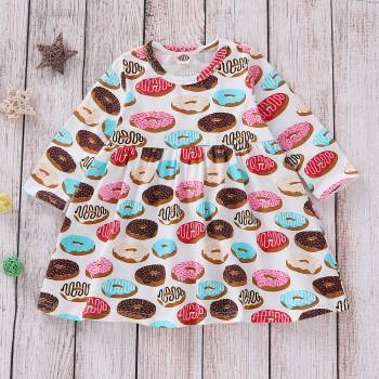 Round Collar Donuts Print Dress