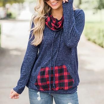 Casual Plaid Pocket and Neckline Sweatshirt
